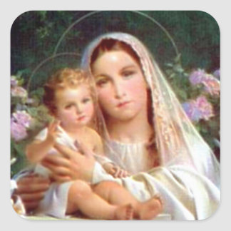 Criança abençoada Jesus da Virgem Maria e da Adesivo Quadrado