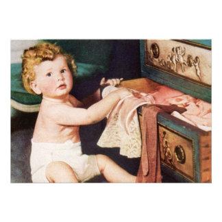 Criança bonito do vintage, menina do menino da cri convite personalizados