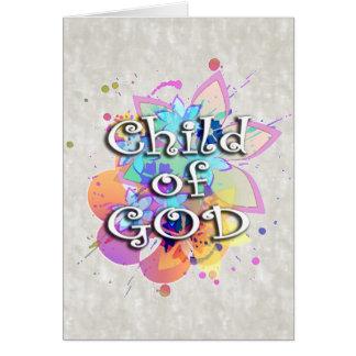Criança da aguarela do arco-íris do deus cartão de nota