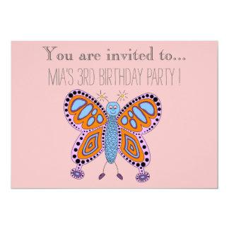 Criança da borboleta dos desenhos animados ou convite 12.7 x 17.78cm