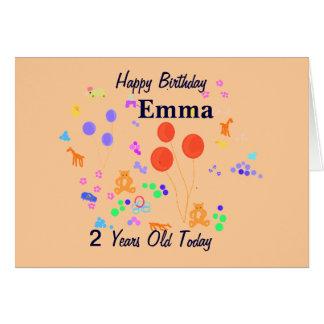 Criança de 2 anos do feliz aniversario cartões