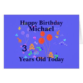Criança de 3 anos do feliz aniversario cartões