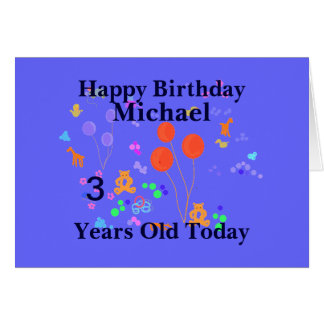 Criança de 3 anos do feliz aniversario cartão comemorativo