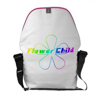 Criança de flor do arco-íris bolsas mensageiro