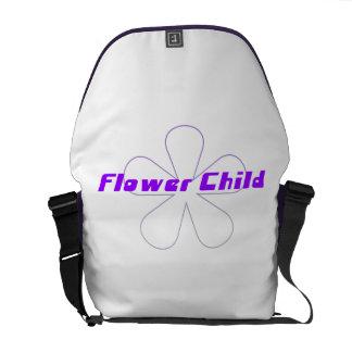 Criança de flor roxa bolsas mensageiro