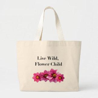 Criança de flor selvagem viva bolsa tote grande
