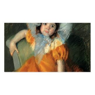 Criança de Mary Cassatt- no vestido alaranjado Cartões De Visitas