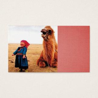 criança de riso e seu camelo de riso cartão de visitas