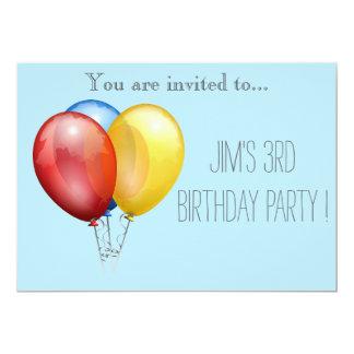 Criança do balão ou festa de aniversário da convite 12.7 x 17.78cm