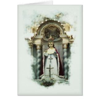 Criança do cartão do católico de Praga