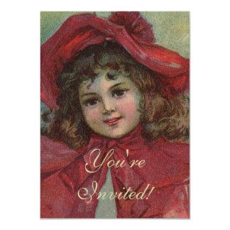 Criança do natal vintage com o vestido vermelho do convite 11.30 x 15.87cm