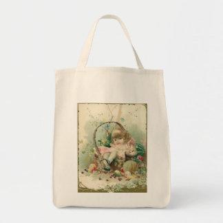 Criança do Victorian do vintage, cesta de fruta do Sacola Tote De Mercado