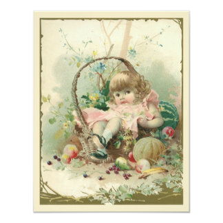 Criança do Victorian do vintage, cesta de fruta do Convite Personalizado