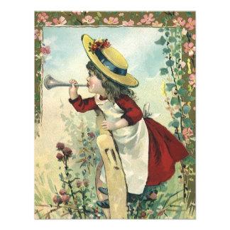 Criança do Victorian do vintage prado de sopro do Convite Personalizado