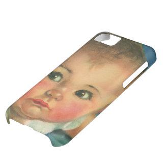 Criança do vintage, bebé bonito ou menina no capa para iPhone 5C