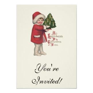 Criança do vintage com árvore de Natal Convite 12.7 X 17.78cm