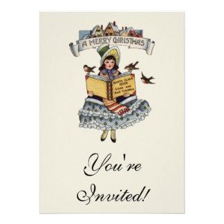 Criança do vintage com livro de Papai Noel Convites