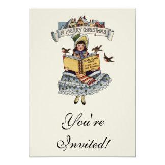 Criança do vintage com livro de Papai Noel Convite 12.7 X 17.78cm