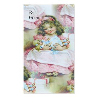 Criança do vintage e boneca - Tag do presente Cartão De Visita