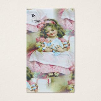 Criança do vintage e boneca - Tag do presente Cartão De Visitas