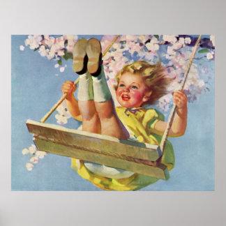 Criança do vintage, menina que balança em um jogo poster