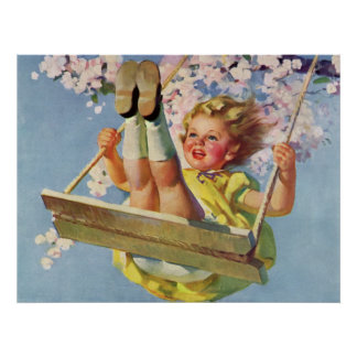 Criança do vintage, menina que balança no balanço  posteres