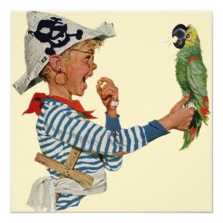 Criança do vintage, menino que joga o pássaro do convite quadrado 13.35 x 13.35cm