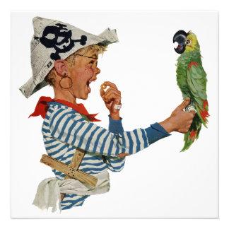 Criança do vintage, menino que joga o pássaro do p convite personalizados