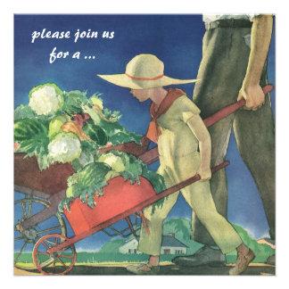 Criança do vintage partido de jardinagem orgânico convites