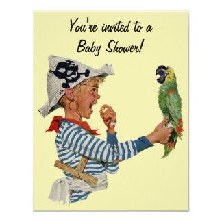 Criança do vintage, pássaro do papagaio do pirata convite 10.79 x 13.97cm