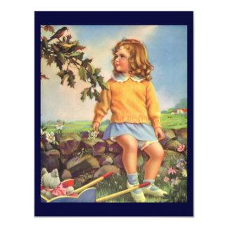 Criança do vintage, pássaros de observação da convite
