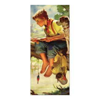 Criança do vintage, pesca do menino com sua convite 10.16 x 23.49cm