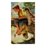 Criança do vintage, pesca do menino com sua vira-l posters