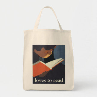 Criança do vintage que lê um livro da biblioteca bolsas