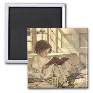 Criança do vintage que lê um livro, Jessie Willcox Ímã Quadrado