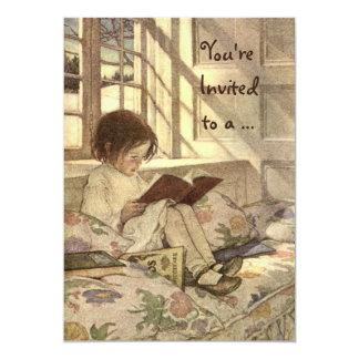 Criança do vintage que lê uma festa de aniversário convite 12.7 x 17.78cm