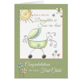 Criança dos parabéns ?a - filha & genro cartão comemorativo