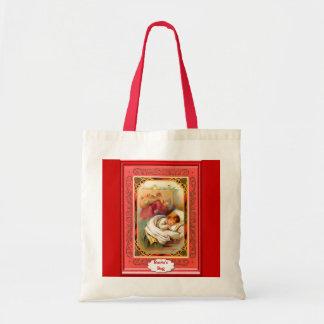 Criança e papai noel de sono bolsa para compras