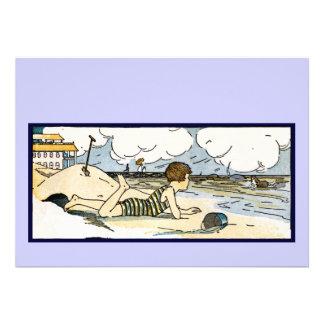 Criança na arte do vintage da praia