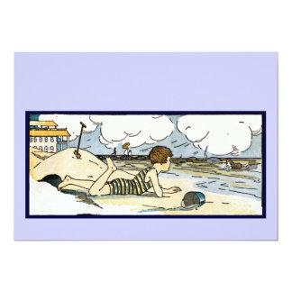 Criança na arte do vintage da praia convite 12.7 x 17.78cm