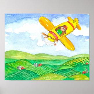 Criança no avião amarelo poster