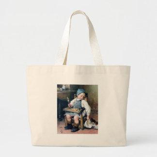 Criança que dá a comida à pintura da antiguidade d bolsa