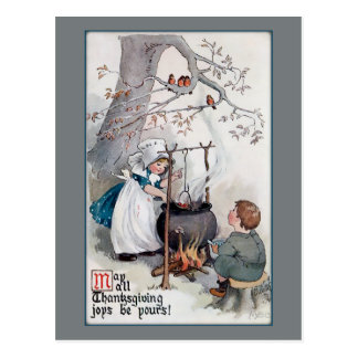 Crianças bonitos da acção de graças do vintage cartão postal