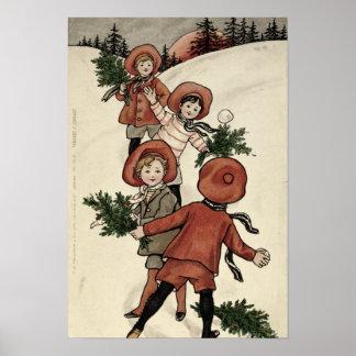 Crianças com os Snowballs de jogo do azevinho Poster