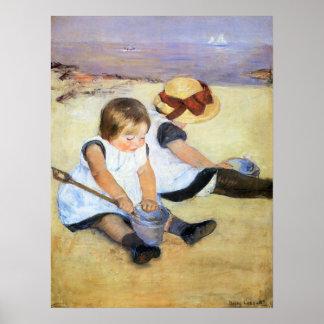 Crianças de Mary Cassatt que jogam no poster da pr