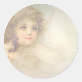 Crianças do anjo adesivo em formato redondo