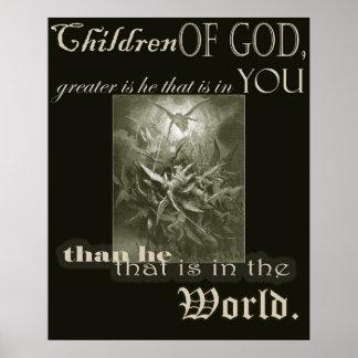 Crianças do poster do deus