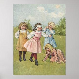 Crianças do Victorian do vintage que jogam jogos Poster