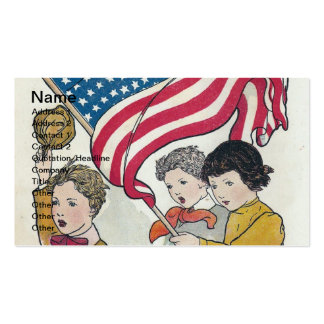 Crianças do vintage e americano Falg Cartao De Visita