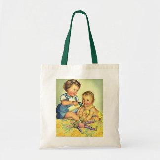 Crianças do vintage, garrafa feliz bonito do sacola tote budget